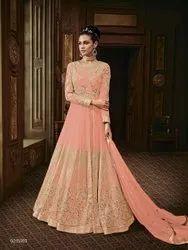 Stiched Type:Semi-Stitched, Salwar Type: Churidar, Net Gown Style Wedding Wear Salwar Kameez, Dry Clean