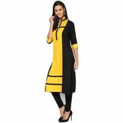 Casual Wear 3/4th Sleeve Ladies Designer Rayon Kurti, Size: S-XXL, Machine wash