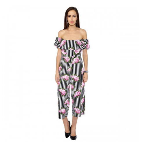 8dfe4a81 Women And Girls Black And White Floral And Striped Frilled Jumpsuit ...