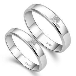 Zevrr 92.5 Sterling Silver Platinum Plated Designer Couple Rings With Message Engraving