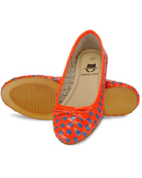 Women Woven Leather Pink And Sky Blue Ballerinas Sandles
