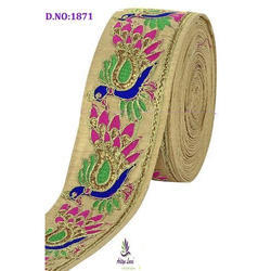 Peacock Designe Embroidery Lace, For Saree, Width: 3 Inch