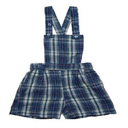 Checked Cotton School Dungaree Divider Skirt