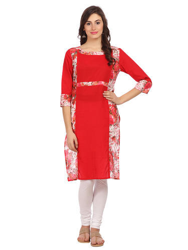 Alom Red Colour Cotton Kurta With Printed Panel, Size: XXL
