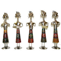 Multicolor Polished Wood Iron Musicians, for Decoration
