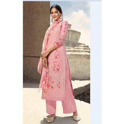 Satin Silk Ladies Unstitched Peach Palazzo Suit Material