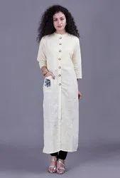 Round Neck Cream Colour Ladies Long Kurta