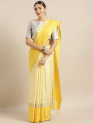 Yellow Solid Linen Blend Saree with Blouse piece