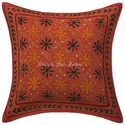16 X 16 Floral Gold Zari Embroidered Cushion Cover