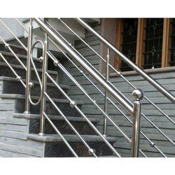Silver Stainless Steel Staircase Railing, for Industrial, Commercial