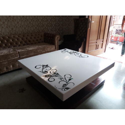 corian center table with mop inlay