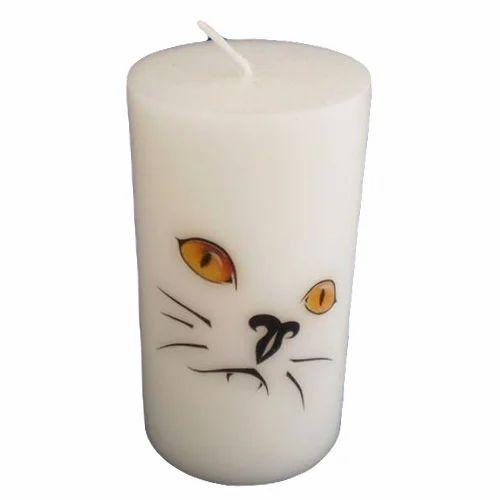 White Printed Pillar Candle