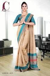 Green and Beige Tripura Cotton Uniform Saree