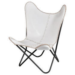 White Leather Folding Chair
