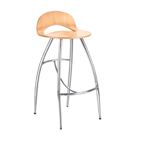 Stainless Steel Wooden Seat Cafe Chair Amardeep Designs India P