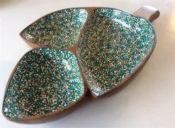 Enamel Ware Wooden Platter