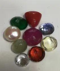 Round Navratna Gemstone Set
