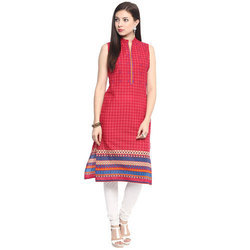 Women Pink Paisley Gathered Or Pleated A-Line Cotton Kurta