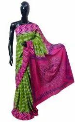 Natural Ajrakh Hand Block Printed Cotton Saree