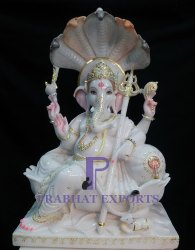 Gold Plated Marble Lord Ganesha Statue