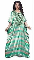 Satin Silk Long Ankle Length Women Kaftan