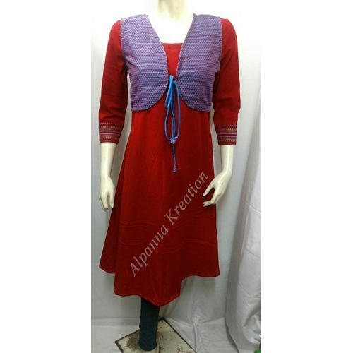 Cotton Party Wear Jacket Kurtis, Size: XL
