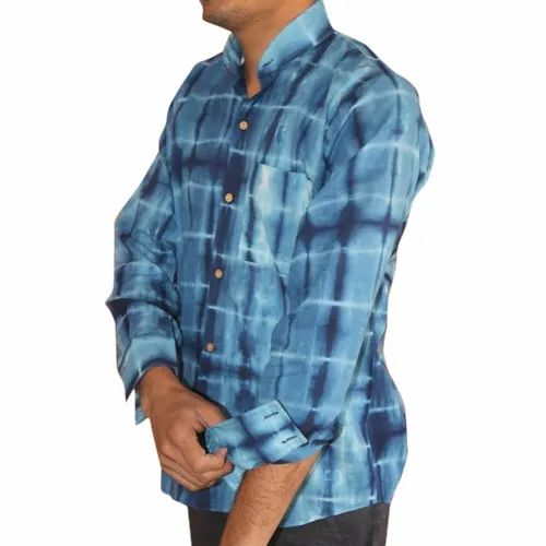 Hand Block Print Mens Check Shirt