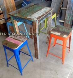 HR Leather Vintage Table and Stool Set, Rotatable: Yes , Adjustable: Yes