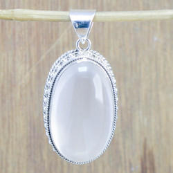 925 Sterling Silver Rose Quartz Gemstone Pendant