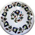 White Marble Inlay Table Top Stone Pietra Dura Art Work