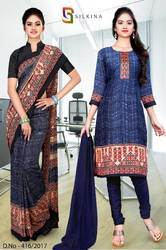 Navy Blue and Grey Italian Crepe Uniform Saree Kurti Combo
