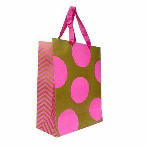 Printed Sriyug Print Production Paper Carry Bag, Capacity: 2kg, For Shopping