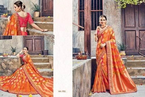 Silk Embroidered Designer Sarees with Blouse Piece