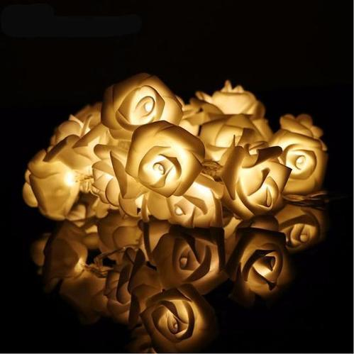 20 Led Rose Flower String Lights Blossom Lamps Battery Operated Fairy
