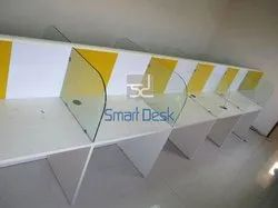 Linear Modular Workstation With Glass Divider