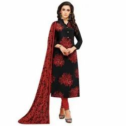 Rajnandini Black Chanderi Silk Printed Semi-Stitched Dress Material With Printed Dupatta