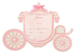 Princess Carriage Birthday Invitation Pink Pack of 6