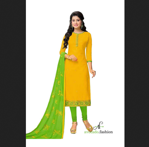 f0eb63a166 Unstitched - Mustard And Lime Green Designer Cotton Salwar Suits ...
