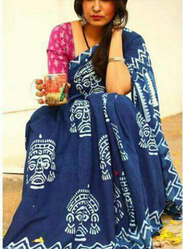 e79c928c9e7b66 Blue Casual Wear Indigo Hand Block Print Saree