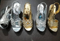 Silver And Golden Women Fancy Sandal