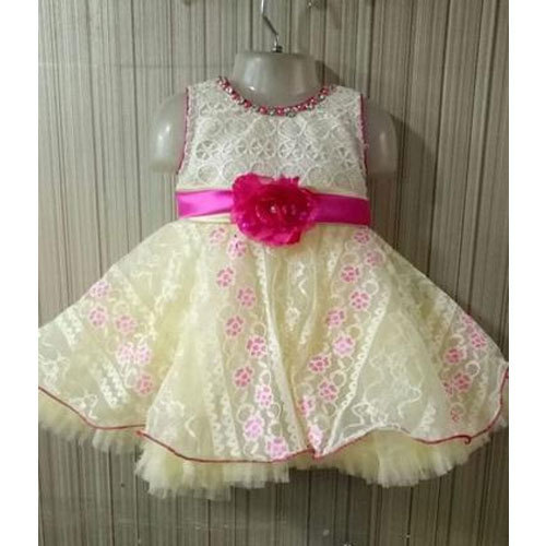 ce46f22e6 Yellow And Pink Party Wear Kids Baby Girl Fancy Frock