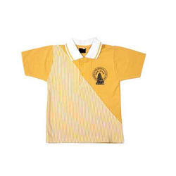 Yellow Cotton Collar Neck School T-Shirt, Size: S - XXL