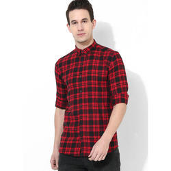 Mens Red Black Checks Shirt