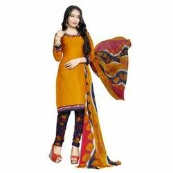 Rajnandini Orange Cotton Printed Unstitched Dress Material