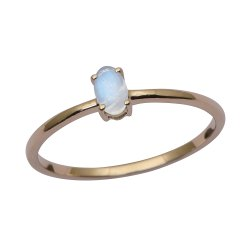 Stackable Pure Fine Gold 9k Moonstone Gemstone Women Engagement Ring