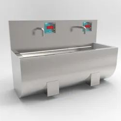 2 Bay Wall Mounted Knee Operated Scrub Sink