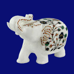 Marble Elephants With Inlaid Work