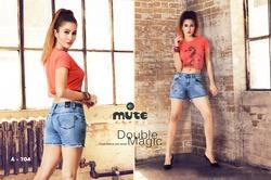 Blue Female Ladies Casual Wear Denim Fancy Shorts, Waist Size: Sizes In 28 To 40