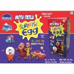 Kamco Motu Patlu Colourful Sweet Pill Candy, Packaging Type: Box
