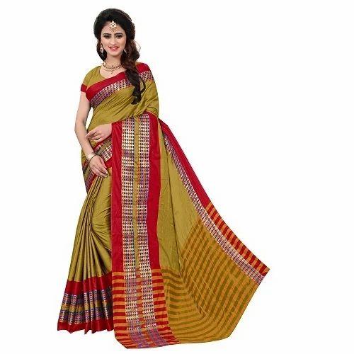 447536ea533829 Ladies Poly Cotton Jacquard Silk Saree